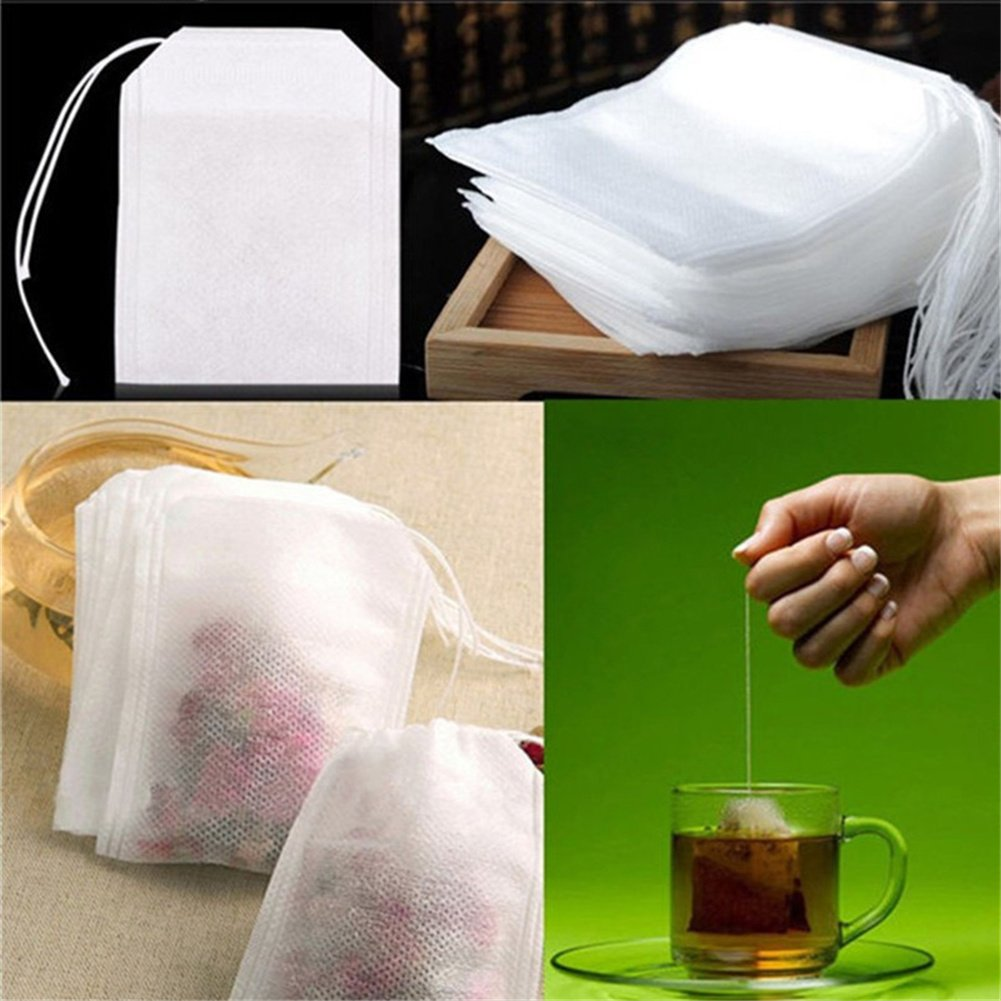 Chengstore 100Pcs Tea Bags Disposable Drawstring Seal Filter Environmentally Friendly Filter Bag