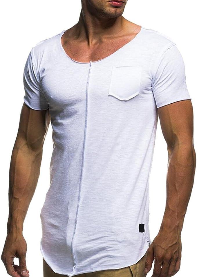 Ketamyy Uomo Tempo Libero Moda Colletto A Forma di U T-Shirt Colore Puro Sottile Manica Corta Maglietta