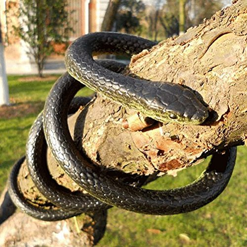 Lifelike Rubber Black Fake Snake Look Real Gag Gift Prank Joke Toy 52 Inch for Halloween Party,April Fool's Day,Scare friends,Garden - Pranks Best Fools Home April