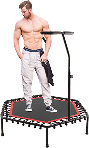 nearall Fitness Trampoline with Adjustable Handle Rebounder Indoor Exercise Mini Trampoline for Adults or Kids Cardio Trainer