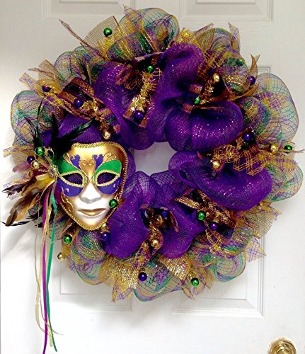 Mardi Gras Wreath Feather Venetian Mask Handmade Deco Mesh