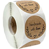 D DOLITY 500pcs Natural Kraft Paper Round Handmade with Love Stickers Food Cookies Stickers Permanent Adhesive Labels for Weddings Party Favors - B, as described