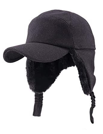 ced6727929b Gisdanchz Winter Cap with Ears Woolen Hat Men Visors Black Sport Cap Winter  Fashion Baseball Cap Warm ...
