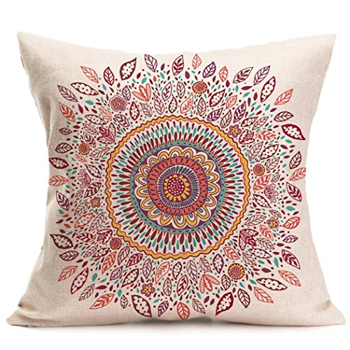 "Xiting Retro Floral Mandala Compass Bohemian Boho Style Summer Decor Cushion Case Decorative for Sofa Couch 16"" x 16"" Inch Cotton Linen (F)"