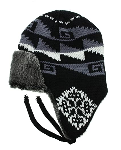 0b1e4ac45c2817 Milani Snow Flake Holiday Pattern Knit Aviator Trapper Earflap Beanie  Winter Hat Skull Cap with Faux