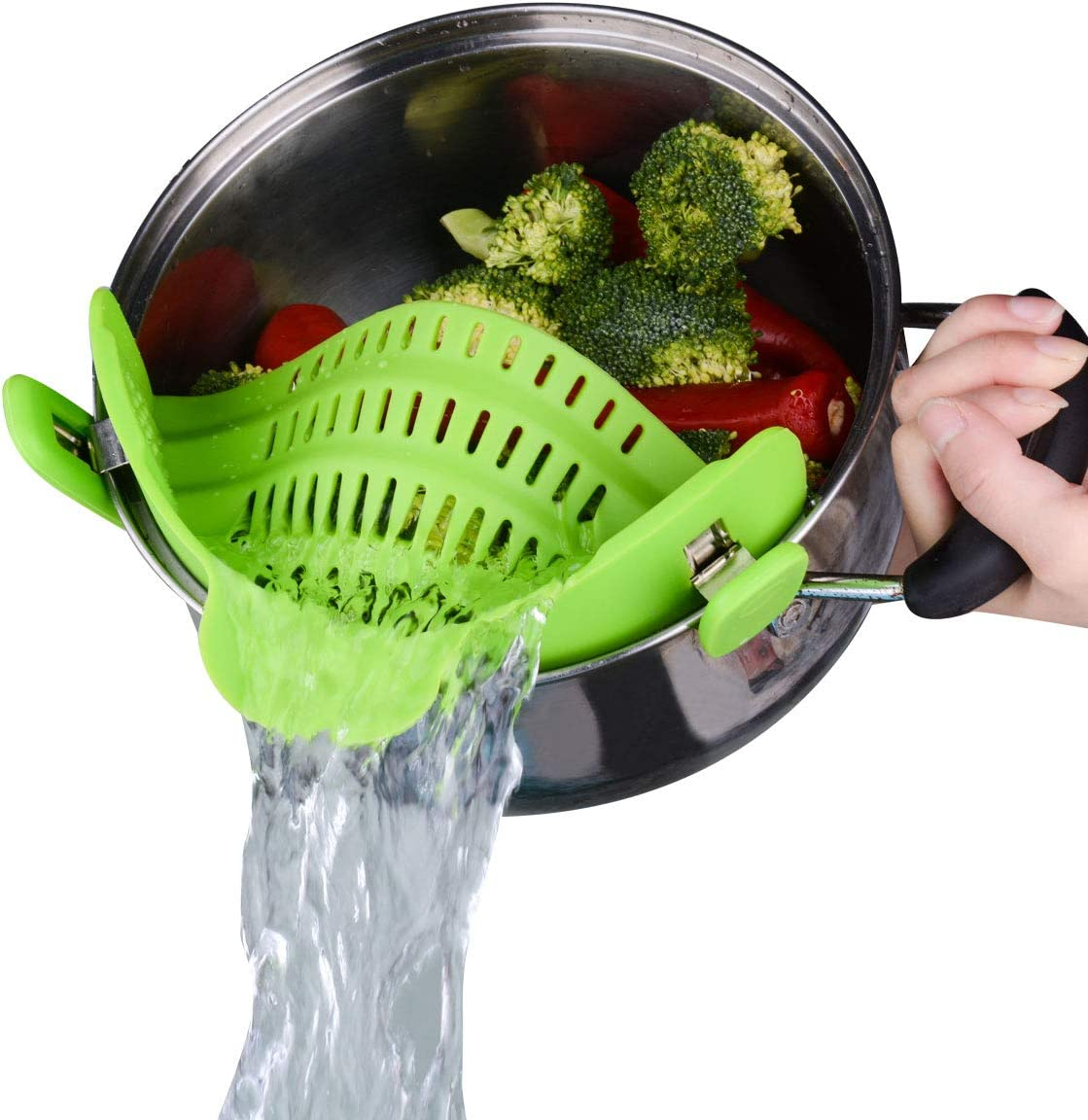 Kitchen Food Strainer, Ecurfu Silicone Snaps Strain Clip On Colander, Fits all Pots and Bowls - Green