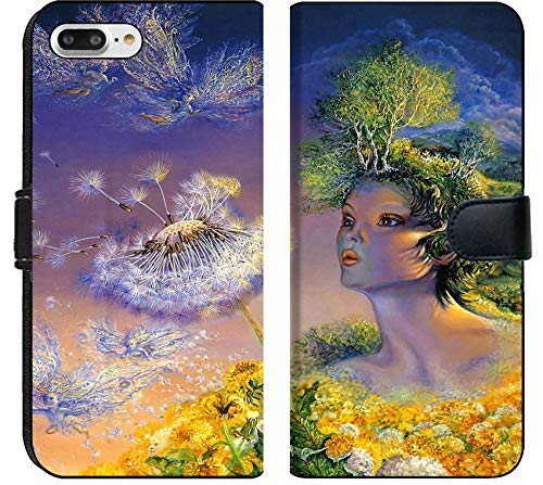 Apple iPhone 8 Plus Flip Fabric Wallet Case Image of Illustration Background Nature Beauty Beautiful Bright Art Fantasy Season Color Green Field Magic colorf
