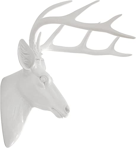 Pine Ridge Large Wall Hanging Faux Taxidermy Decor White Deer Antler Sculpture. Modern Art Animal Decoration Mounted Stag Head Mount