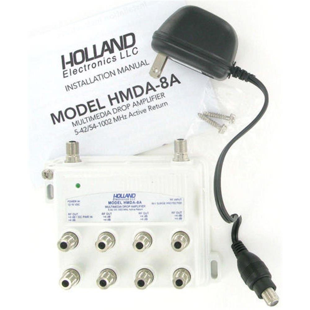 Holland Electronics Multimedia CATV 8 Way Drop Amplifier w/Active Return