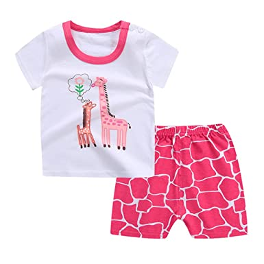 Drawstring Short Pants for Age 1-4 Years Baby Lonshell/_Toddler Clothing Toddler Infant Baby Girl Boy Summer Clothes Outfit Set Cute Cartoon Animal Printing Short Sleeve Cotton T-Shirt Tops