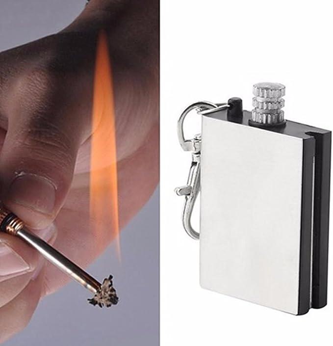 Libertroy Taille Portable Fer Utilisation Durable Allume-feu Flint Matchs Kit de Briquet pour Outil de Survie en Forme de Bouteille Portable pour lext/érieur Argent