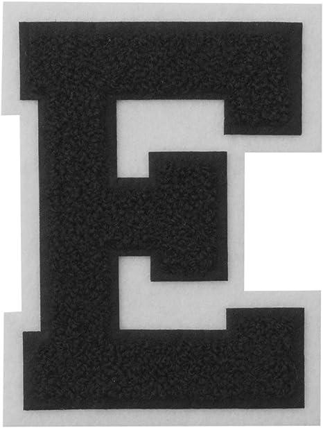 "2 3//8/"" x 2 1//2/"" White Black Block Letterman/'s Letter E Felt Patch"