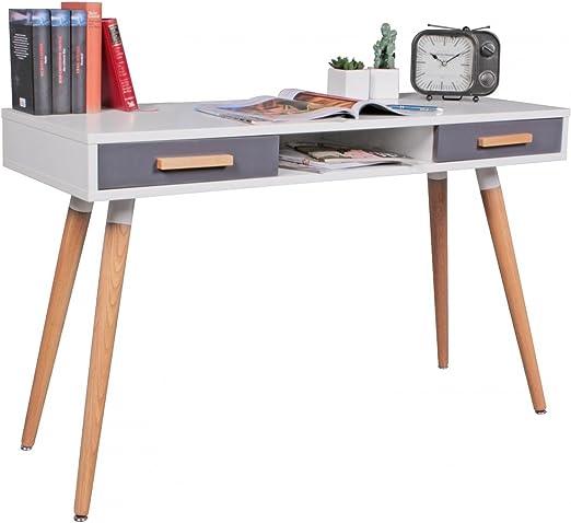 WOHNLING mesa de MDF retro mesa de madera de 120 cm de ancho ...