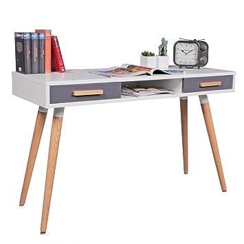 WOHNLING Schreibtisch MDF Retro Holztisch 120cm Breit Schubladen Weiß  Büro Tisch Design Skandinavisch Computertisch Stylisch