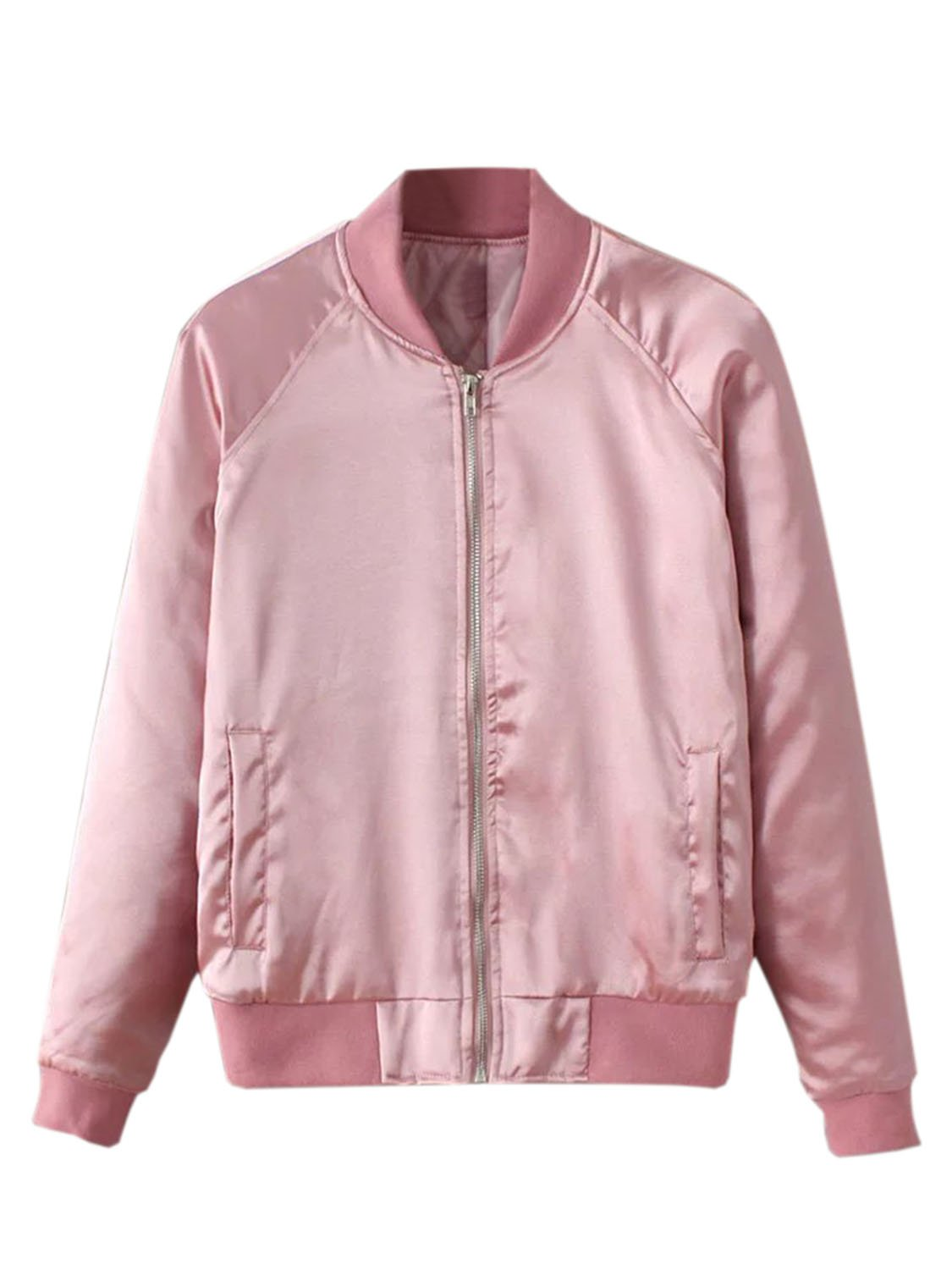 Choies Women Pink Zip Up Satin Classic Lightweight Padded Bomber Jacket Coat M