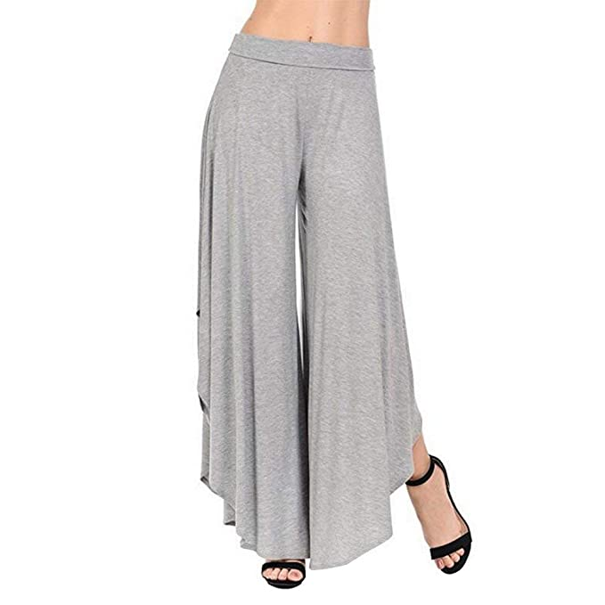 8b54ea6371be Mujer Pantalon Pantalones Anchos Pantalones Verano Elegantes Moda Pantalones  De Tiempo Libre Cintura Alta Color Sólido Irregular Lindo Chic Anchos Tallas  ...