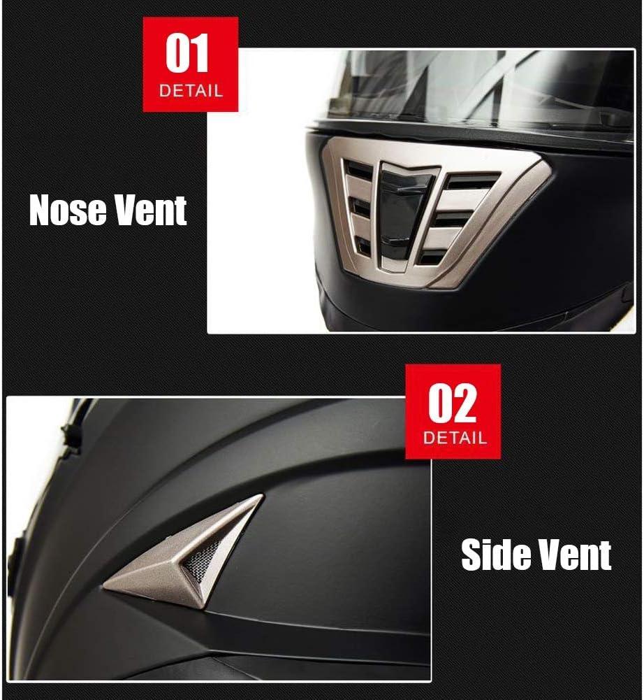 Teschio Nero, 54-60 cm JIAND Casco Integrale da Moto Casco modulare per pendolarismo con Doppia Visiera Parasole e Fodera Rimovibile