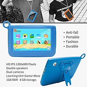 NPOLE Kids Tablet 8G ROM 1G RAM 7 Inch Android 4.4.2 1280x800 IPS Display with Parental Control Software - iWawa Wifi Camera 3G Game HD Video Supported by NPOLE