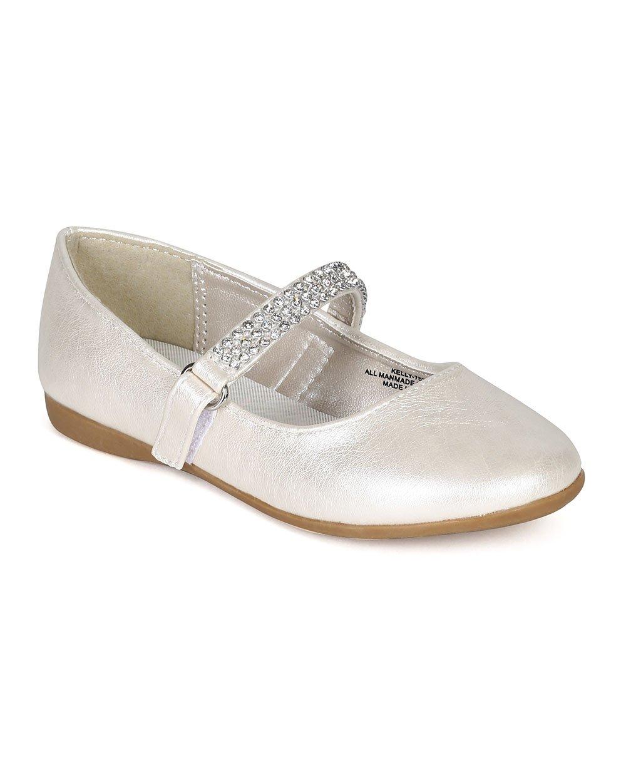 Leatherette Round Toe Rhinestone Mary Jane Ballerina Flat (Toddler/Little Girl) CA05 - Ivory Leatherette (Size: Toddler 5)