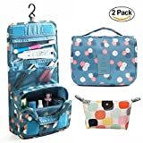 Travel Portable Organizer Cosmetic Bag, KEBE Waterproof Multifunction Bathroom Storage Carry Case Toiletry Bag Portable Makeup Pouch Travel Hanging Organizer Bag + Portable Makeup Bag ( 2-Pack )