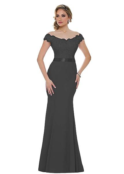 Mermaid Chiffon Bridesmaid Dress Off The Shoulder Lace Bodice Evening Prom Dress S015