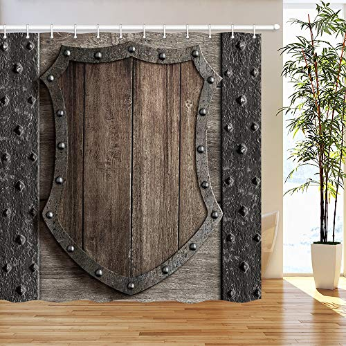DYNH Medieval Shower Curtain, Wood Shield on Medieval Castle Gate Bath Curtain, Polyester Fabric Bathroom Curtain with 12 Hooks, 69X70 Inches00