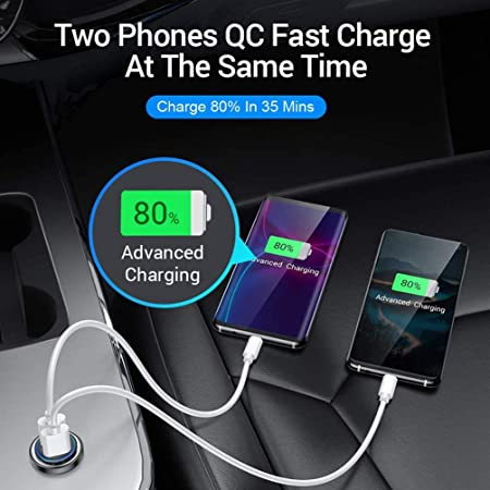 Car Charger,Mini LED Light Quick Charger 3.0 Dual USB Port Phone Tablet Car Fast Charging Mini Flush PQ3-A
