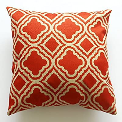 Lydealife Cotton 18 X 18 Inch Decorative Throw Pillow Cushion Cover, Argyle Pattern Orange