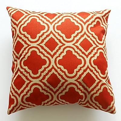 Lydealife Cotton 18 X 18 Inch Decorative Throw Pillow Cushion Cover, Argyle Pattern Orange