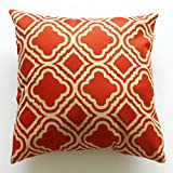 Decorative Pillow Cover - Lydealife Cotton 18 X 18 Inch Decorative Throw Pillow Cushion Cover, Argyle Pattern Orange