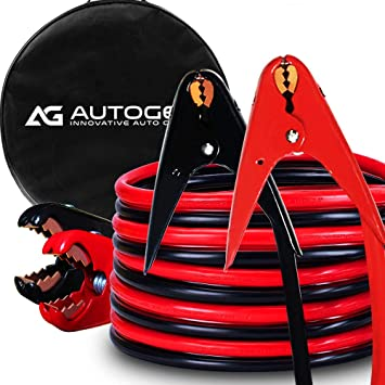 4 Gauge 25 Feet Jumper Battery Cables with Storage Bag 4AWG 25 FT 800A Heavy Duty Jumper Cables with Copper Jaws Booster Jump Start Cars Trucks AUTOGEN Booster Cables SUVs