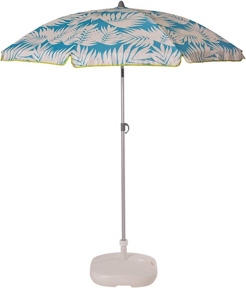 Ezpeleta Sombrilla de Playa de Aluminio Sombrilla terraza Parasol Plegable y Ligero Inclinable Protección Solar UPF 50+ Incluye Funda y Rosca Tejido Estampado (Hojas-Azul)