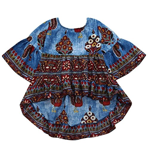 Connia children Infant Fashion Dress Kids Girls Peacock Print Half Lantern Slevee Formal Dress Clothes (Dark Blue, - One Baby Piece Gap