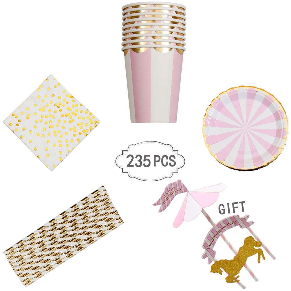 235 PCS Pink Stripe Disposable Dinnerware Set for Girl Baby Shower Birthday Party 40-Set Paper Tableware with Paper Plates, Napkins,Cups, Paper Straws