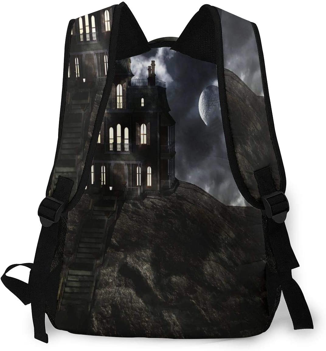 Laptop Backpack,15.6 Inch Stylish College School Backpack Castle with Moon Haunted House Water Resistant Casual Daypack Rucksack Gym Bag for Women//Girls//Business//Travel