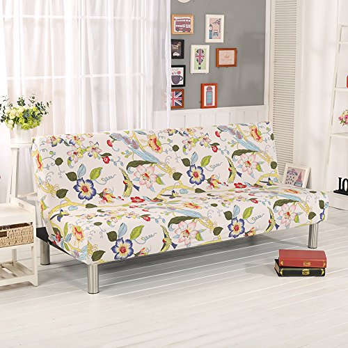 Aneil Sofa Bed Cover Futon Slipcover Solid Color Full Folding Elastic Armless 80 x 50 in (Flower) (Bed Slipcover)