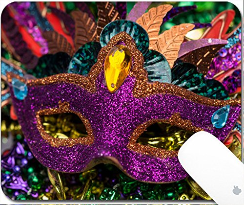 Luxlady Natural Rubber Gaming Mousepads Close up view of purple sequined Mardi Gras mask with colorful beads out focus in the background 9.25in X 7.25in IMAGE: 26111610