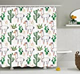 Ambesonne Cactus Decor Shower Curtain by, Hot South Desert Plant Cactus Pattern with Camel Animal Modern Colored Image, Fabric Bathroom Decor Set with Hooks, 70 Inches, Multicolor