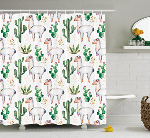 Colored Animal (Ambesonne Cactus Decor Shower Curtain by, Hot South Desert Plant Cactus Pattern with Camel Animal Modern Colored Image, Fabric Bathroom Decor Set with Hooks, 70 Inches, Multicolor)