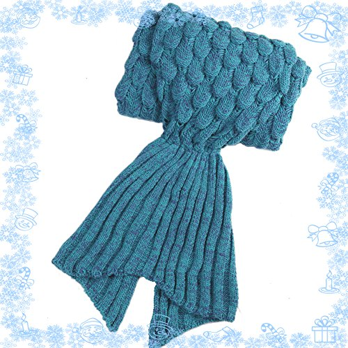 Yowao Mermaid Tail Blanket Adult Handmade Knitted Fish Scales Pattern and All Seasons Warm Your Feet Sleeping Bag 74.86 x 35.46 inch (190x90cm) (Blue Lake)