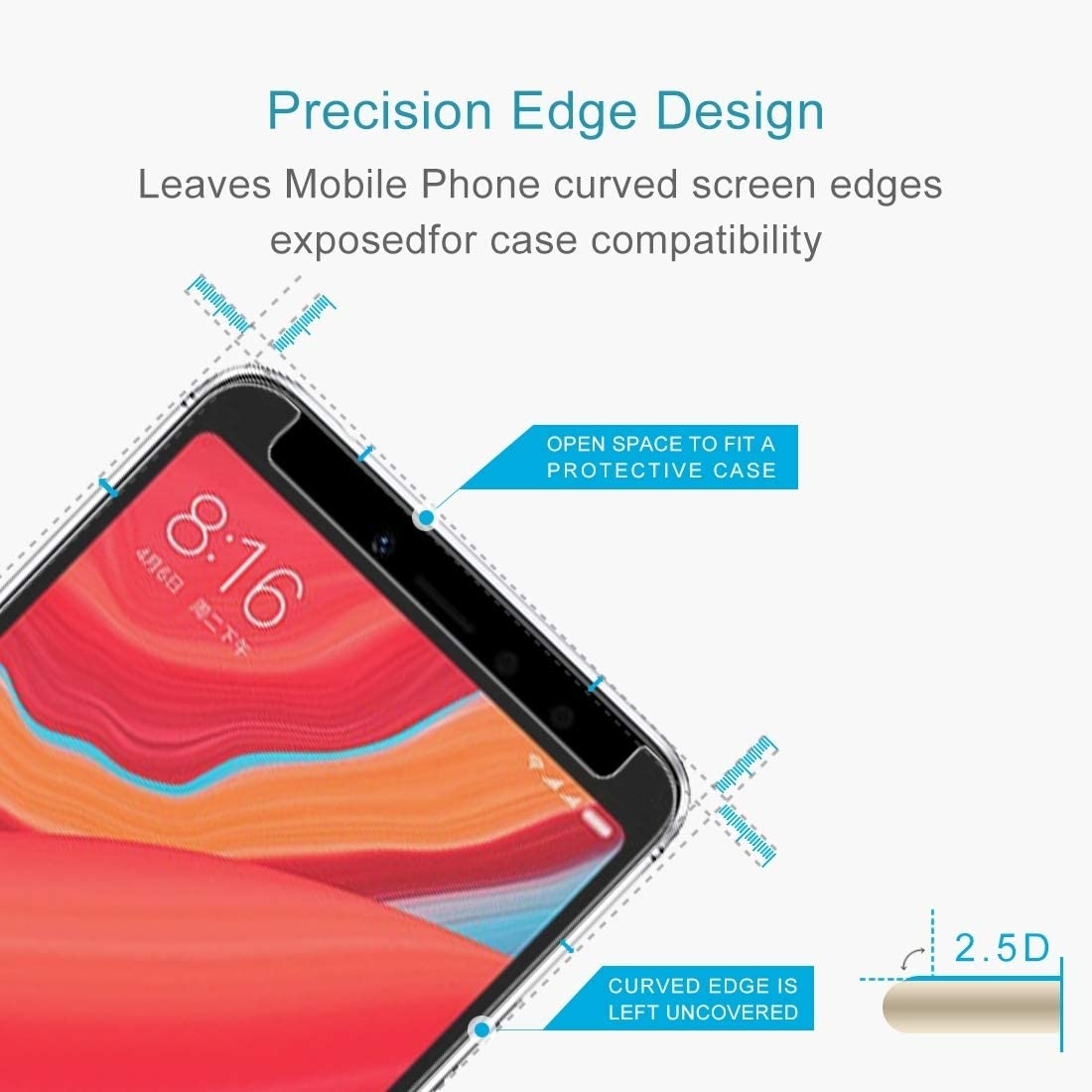 50 PCS 0.26mm 9H 2.5D Tempered Glass Film for Xiaomi Redmi S2 Clear YINZHI Screen Protector Film