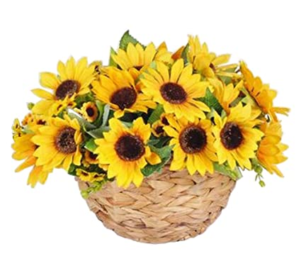Amazon artificial flowers hanging basket silk flowers with artificial flowers hanging basket silk flowers with basket sunflower mightylinksfo