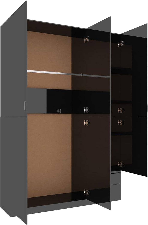 Bulufree Armario de 3 Puertas Armario de Almacenamiento de Ropa para Muebles de Dormitorio Estante y Barra para Colgar 120x50x180 cm Negro de Alto Brillo