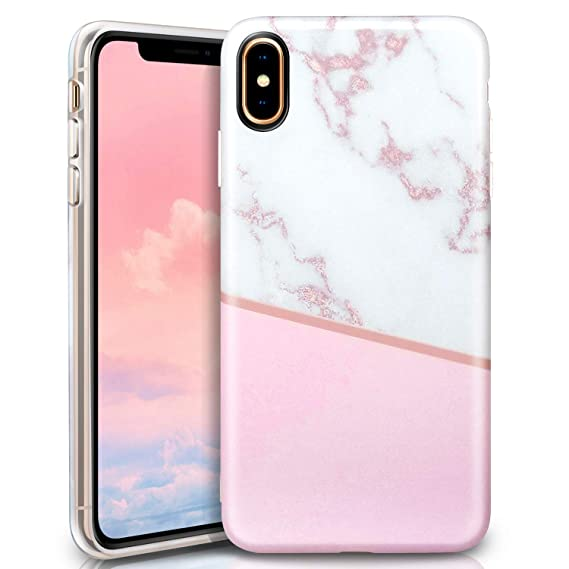 premium selection 40eb3 2fe9d Amazon.com: ivencase iPhone Xs Max Case, Pink White Marble for Women ...
