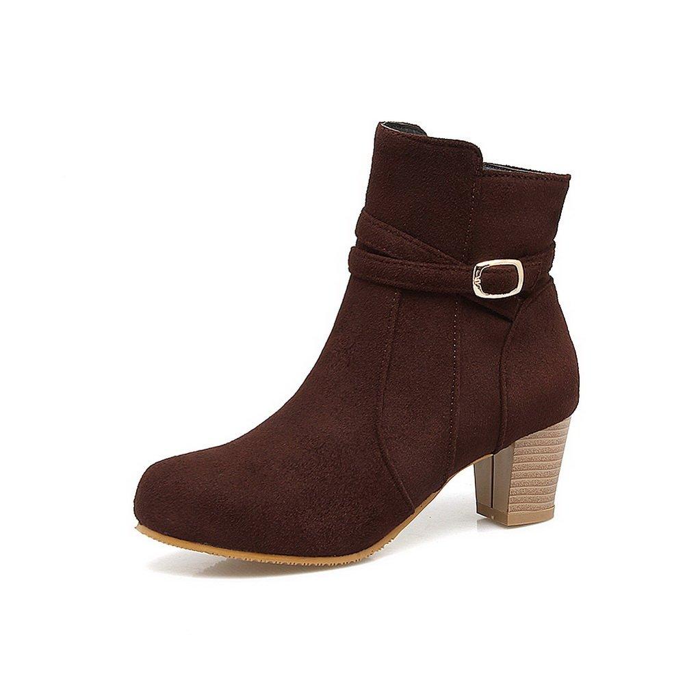 BalaMasa Womens Ankle-High Metal Buckles Suede Boots Rain Boots Suede ABL10668 B07953BYFD Rainwear 549ed8