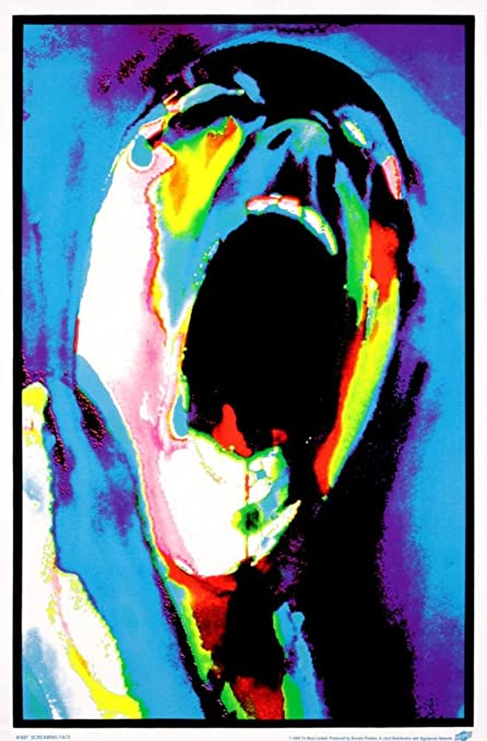 Pink Floyd The Wall Screaming Face Flocked Blacklight Music Poster Print