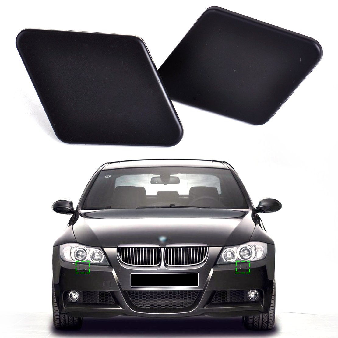 Headlight Washer Cover Nozzle Cap Headlamp Nozzle Cover UPSM 1 Pair Front Bumper Left /& Right Fit for BMW 3 Series E90//E91 2005-2009 Headlamp Cleaning Windshield Cover 61678031307 61678031308