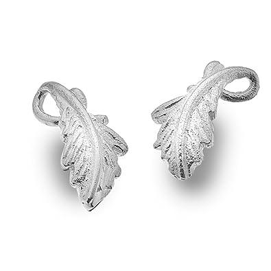 Oak Leaf Design Stud Earrings In Sterling Silver (13mm x 5mm) (E23) HeoQXct