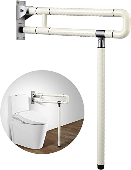 Amazon Com 29 5 Inch Grab Bars For Bathroom Toilet Safety Rails For Elderly Pregnant Women Disabled Handicap Bar Medical Flip Up Arm Rails Support Foldable Skid Resistance White Health Personal Care