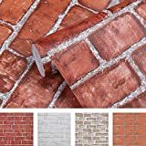 Tools & Hardware : Coavas Brick-Wallpaper 17.7x196.6 Inch Decorative Self Adhesive 3D Wall Panels Easy to Stick and Peel Faux Brick Printed Waterproof Stick Paper Red
